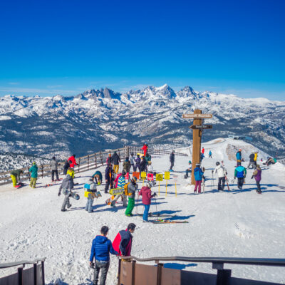 Skiers and snowboarders at Mammoth Mountain