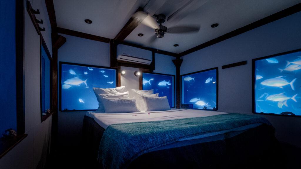 Underwater room in Manta Resort.