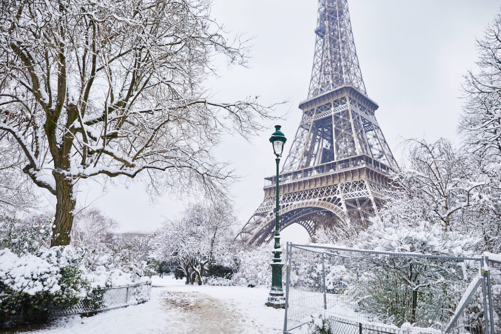 Winter at the Eiffel Tower in Paris, France
