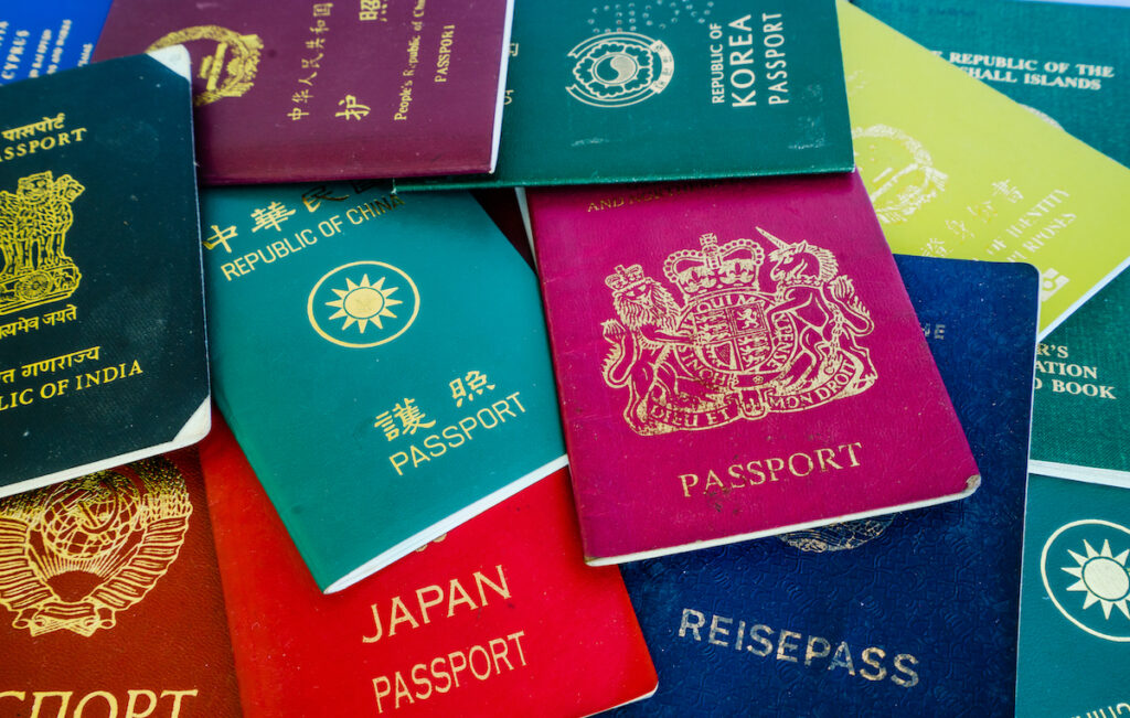 A variety of passports from around the world