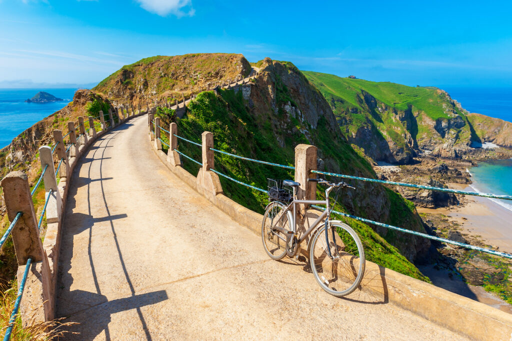A bicycle parked in Sark in the UK