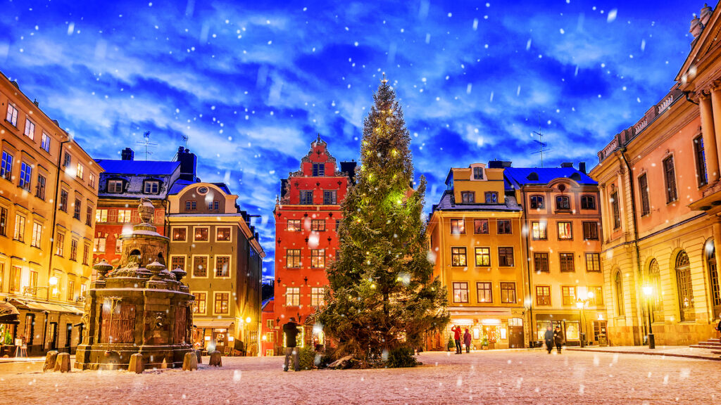 A square in Stockholm, Sweden, decorated for Christmas