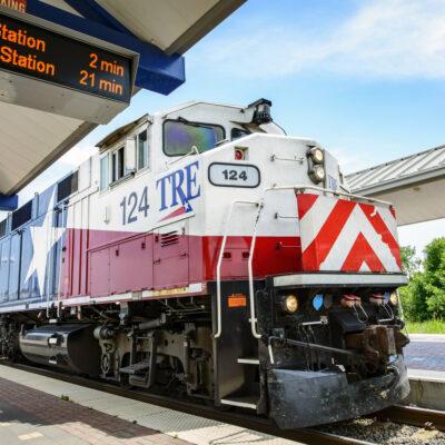 Trinity Railway Express train in Fort Worth, Texas.