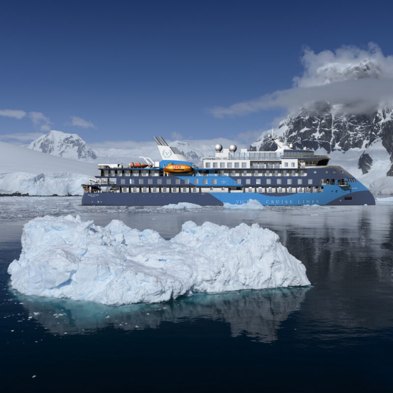 The Ocean Victory in the Lemaire Channel near Antarctica. This American Queen Voyages cruise liner will sail Alaska by 2023.