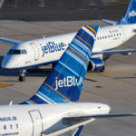 Two JetBlue airliners.