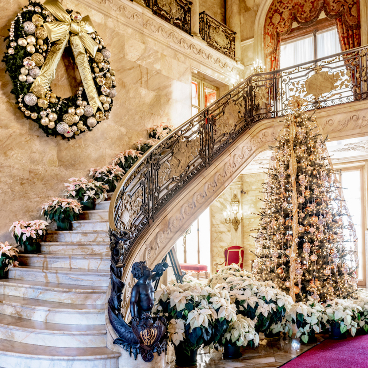 A grand staircase at Marble House