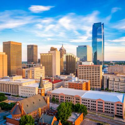 Oklahoma City, Oklahoma, USA downtown skyline in the late afternoon.