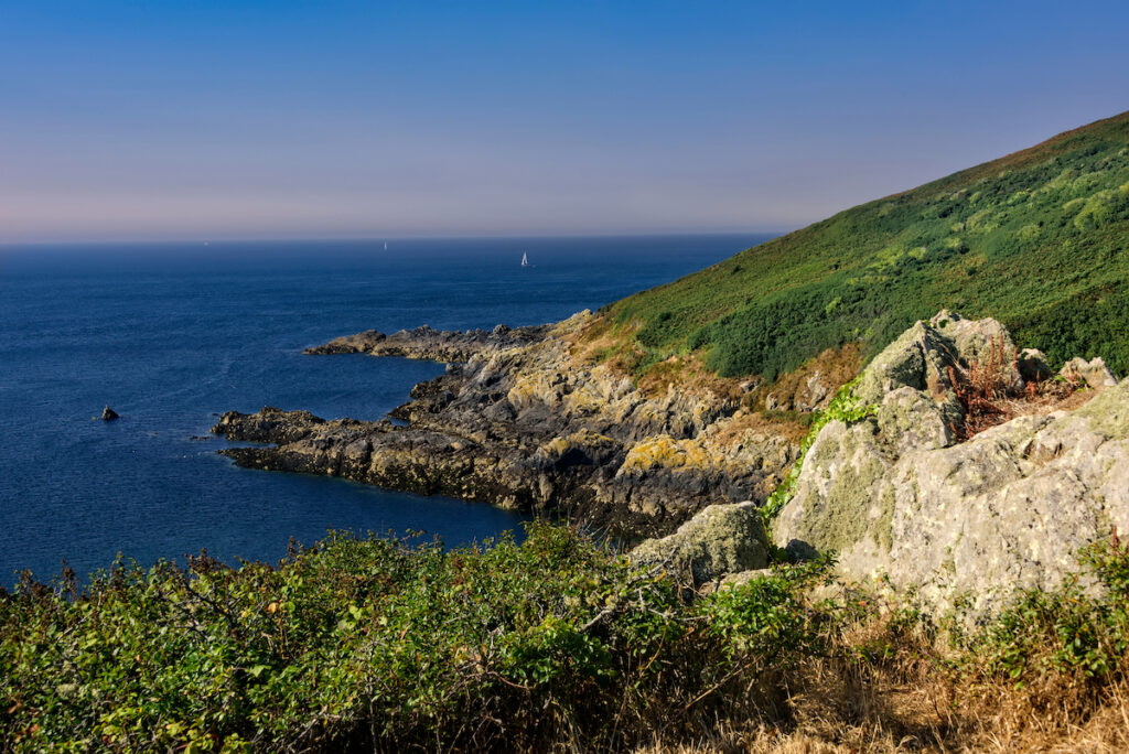 Jerbourg Point, the southeastern point of the Ballwich of Guernsey in the English Channel.