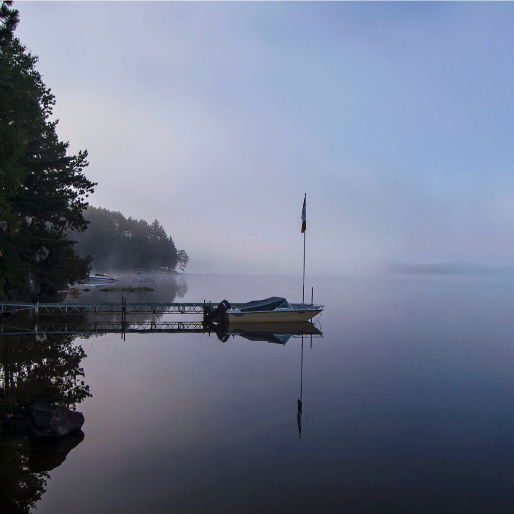 Early morning mist on Lake St Peter, near Algonquin Park