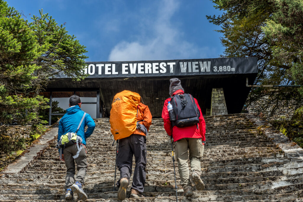 trekkers walking to the Hotel Everest View in Nepal.
