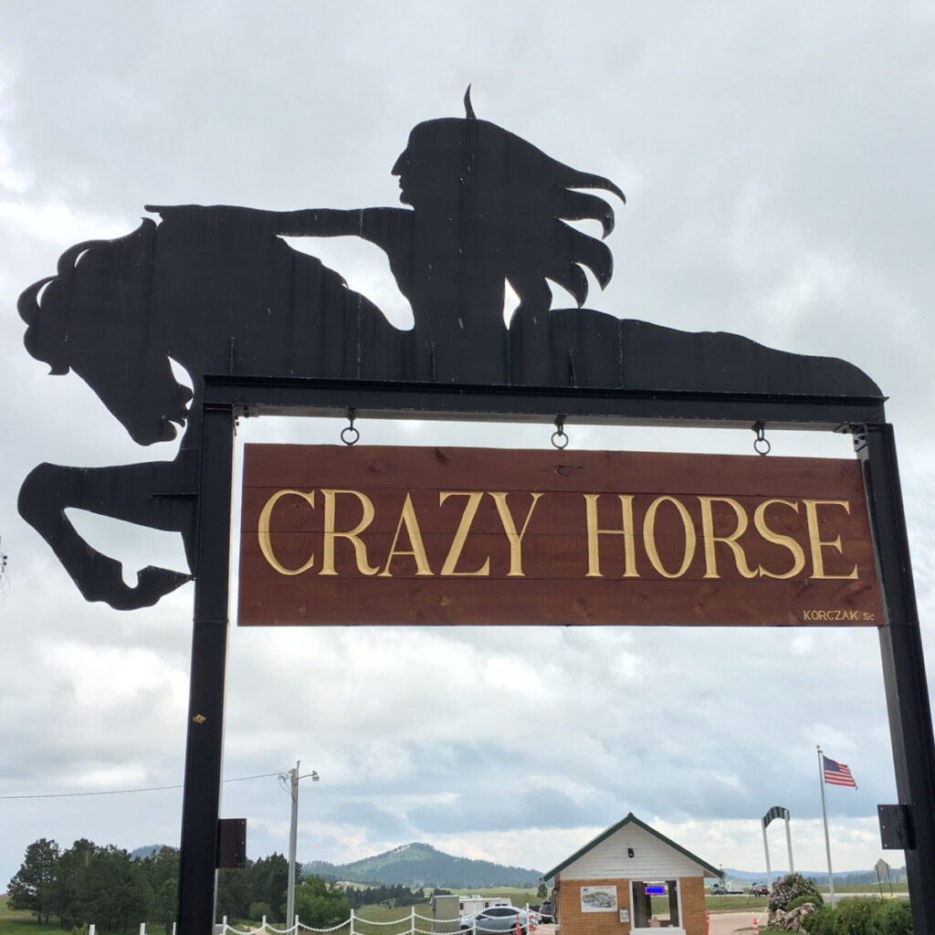 Monument signage over entrance to the Crazy Horse National Monument, South Dakota.