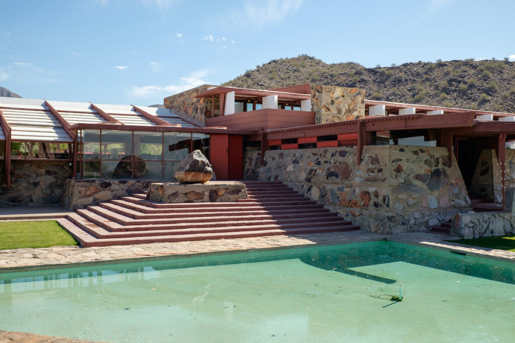View of Taliesin West, the landmark winter home and school of famous American architect Frank Lloyd Wright.
