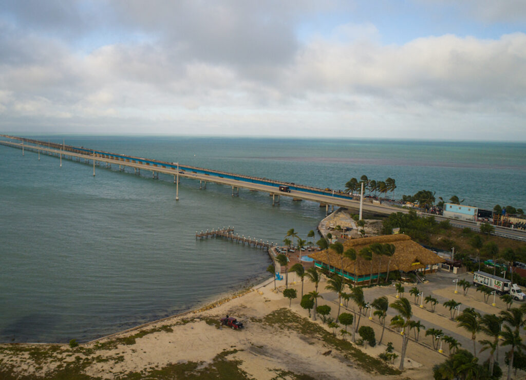 Aerial view of the Seven Mile Bridge that connects the Middle Keys to the Lower Keys and is apart of the Overseas Highway.