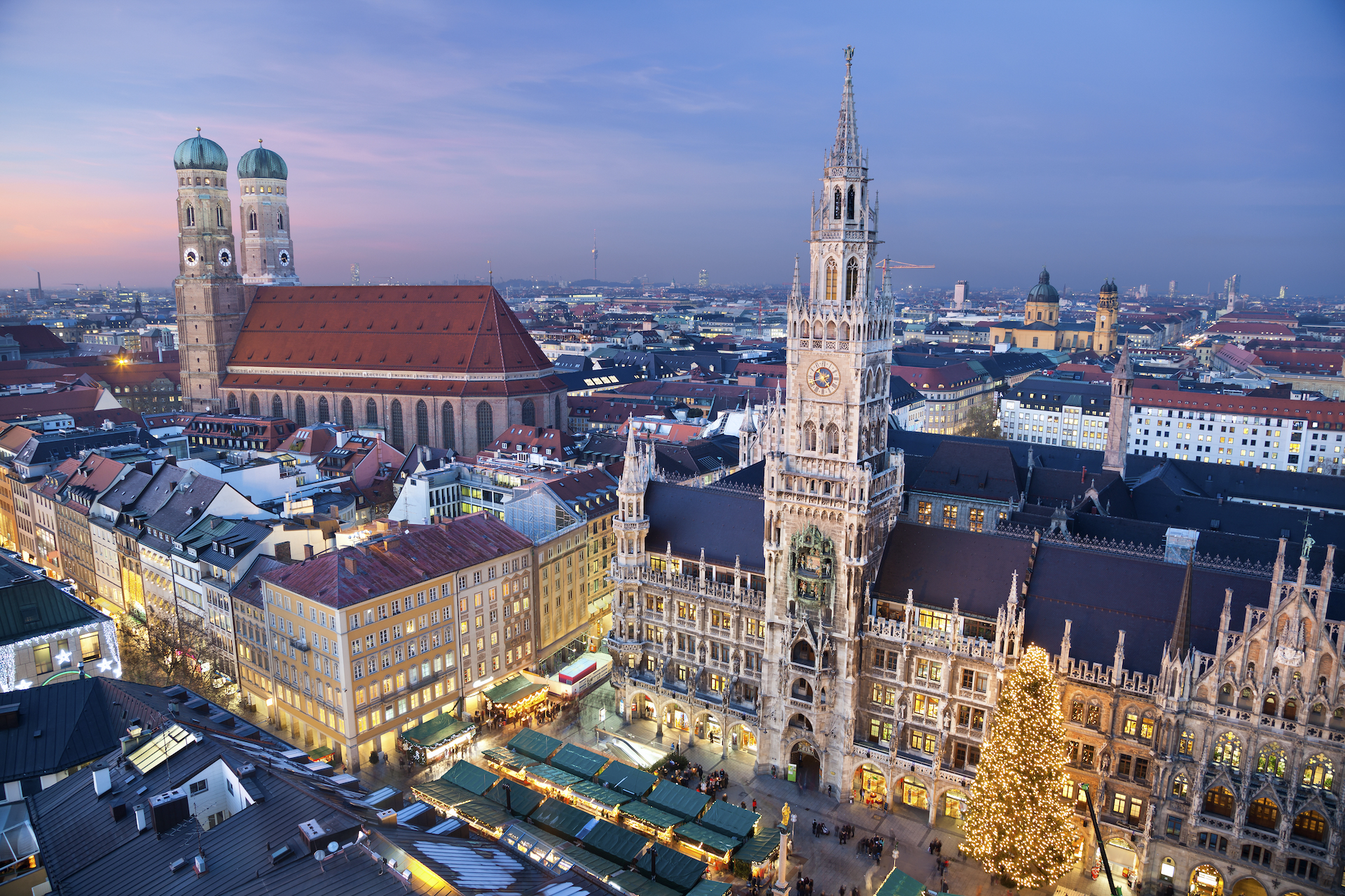 Munich, Germany. Aerial image of Munich, Germany with Christmas Market and Christmas decoration during sunset.