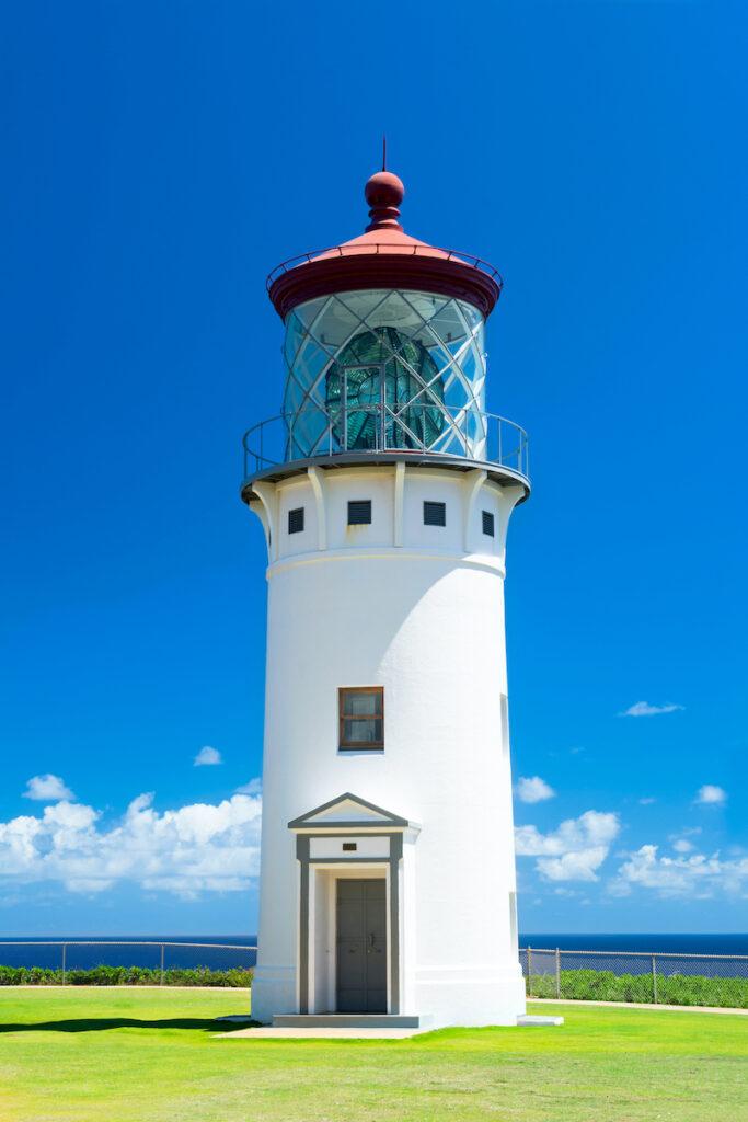 A beautiful view of the Daniel Inouye Kilauea Point lighthouse on the Hawaiian island of Kauai.