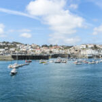 View from English Channel to town of Saint Peter Port, Guernsey, UK