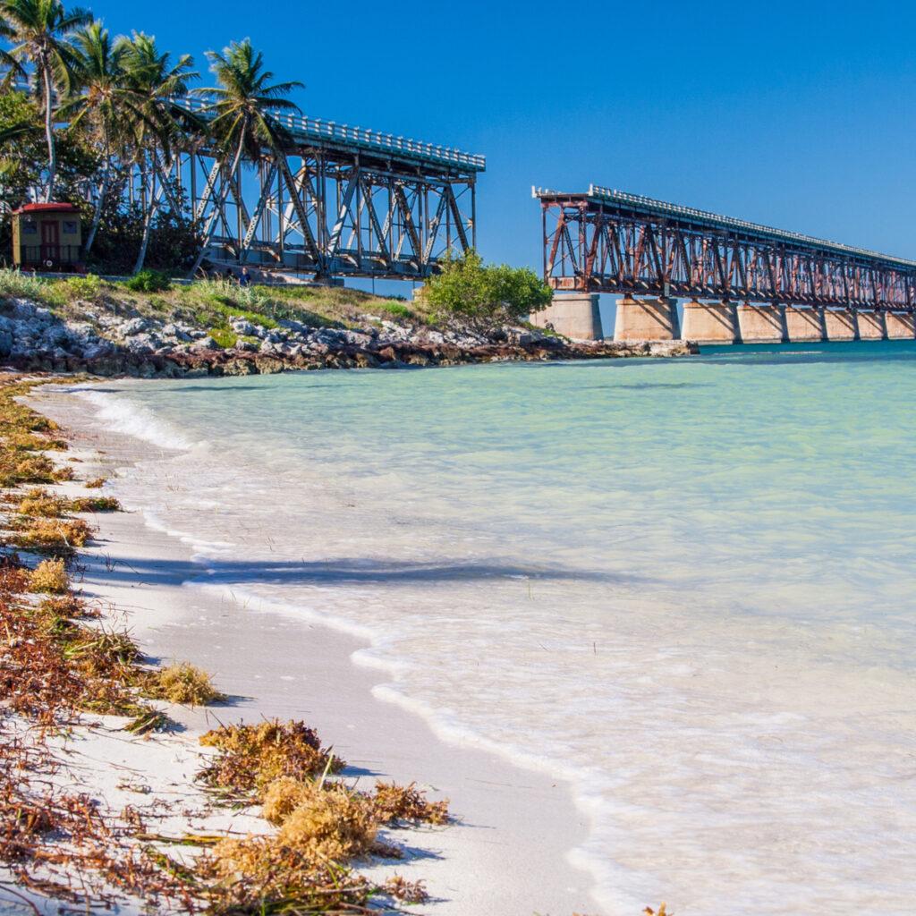 Broken bridge Bahia Honda state park, Key West, Florida.