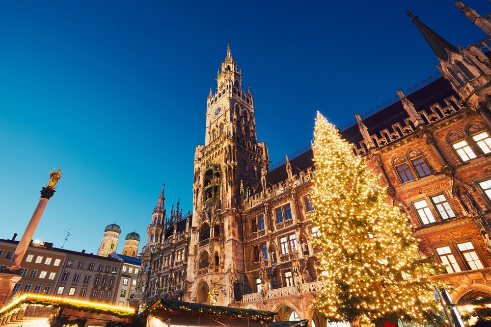 Marienplatz with the Christmas market in Munich, Germany