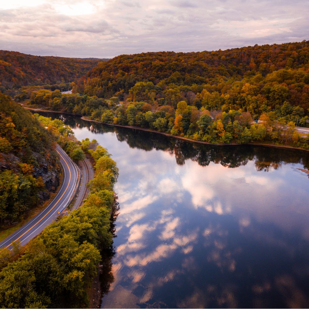 Aerial Drone of Mount Tammany in the Delaware Water Gap.