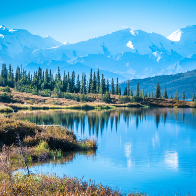 Wonder Lake and mountains in Denali National Park