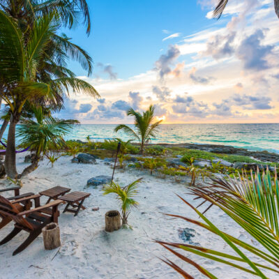 Sunset at Paradise Beach in Tulum, Mexico