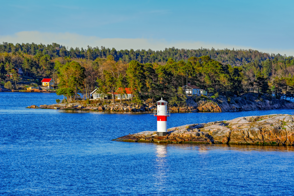 Rocky islands in Stockholm Archipelago, Sweden.